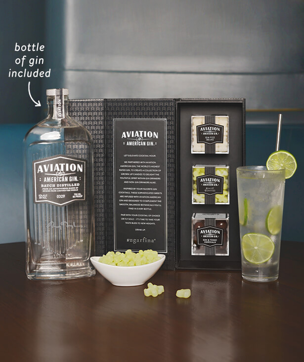 Photo of Sugarfina Candies for Aviation Collection, and a bottle of Aviation American Gin. Purchase the candies and a bottle of Aviation American Gin together from ReserveBar
