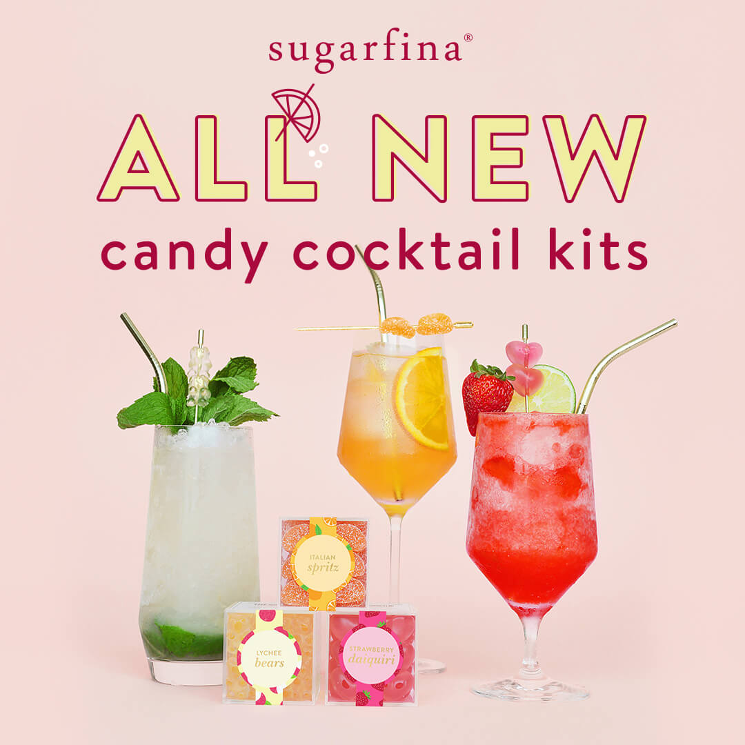 All new gift sets complete with cocktail candies and drink syrups for delicious Strawberry Daiquiris, Lychee Mojitos, and Italian Spritzes​​​