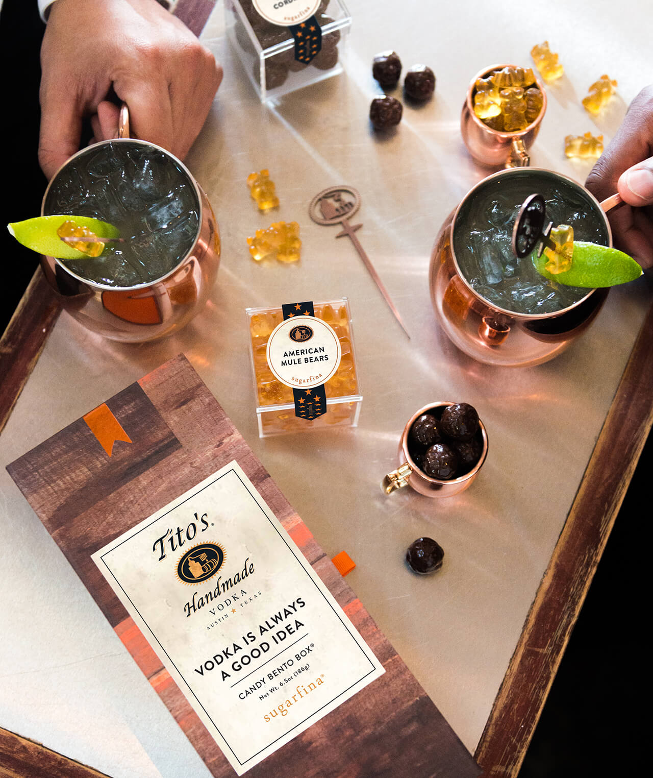 Tito's Vodka Candy Collection - showing American Mule gummy bears and moscow mule glasses