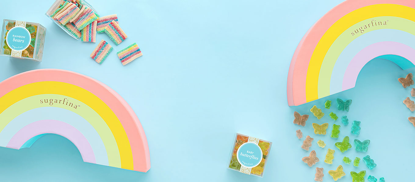 100% chance of rainbows. Brighten your day with our new Rainbow 3 Piece Candy Bento Box.